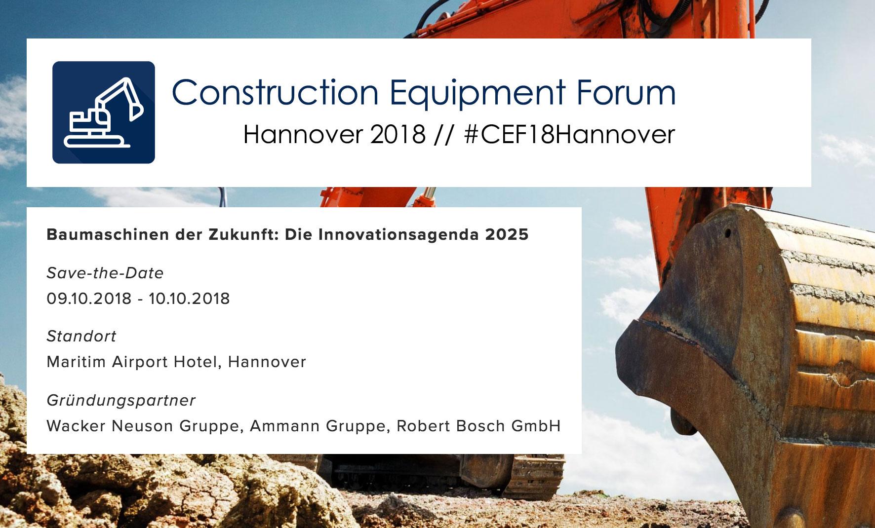 Allgemeine Bauzeitung ist Medienpartner des Construction Equipment Forum 2018